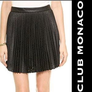 Club Monaco black leather perforated skirt Sz.4
